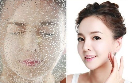 user of sparkling water as a beauty treatment